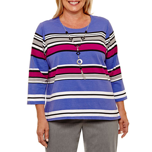 Alfred Dunner Closet Case 3/4 Sleeve Stripe T-Shirt with Necklace- Plus