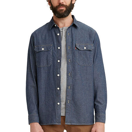 1960s Mens Shirts | 60s Mod Shirts, Hippie Shirts Levis Classic Worker Mens Long Sleeve Button-Down Shirt Large  Blue $49.99 AT vintagedancer.com