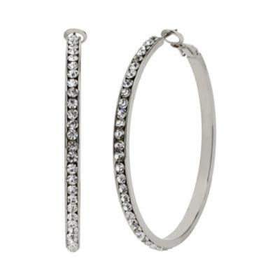 Worthington® Silver-Tone Crystal Hoop Earrings