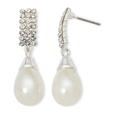 Vieste® Rhinestones and Simulated Pearl Drop Earrings