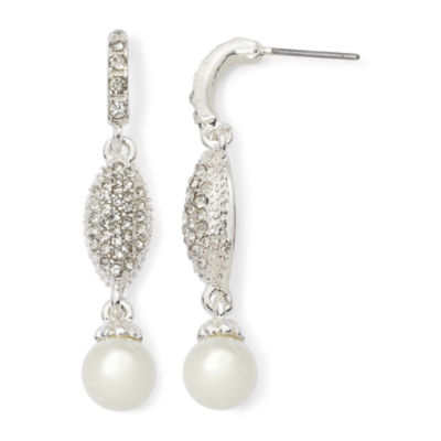 Vieste® Rhinestone and Simulated Pearl Linear Earrings