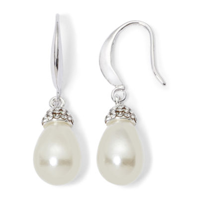 Vieste Rosa Simulated Pearl Round Drop Earrings