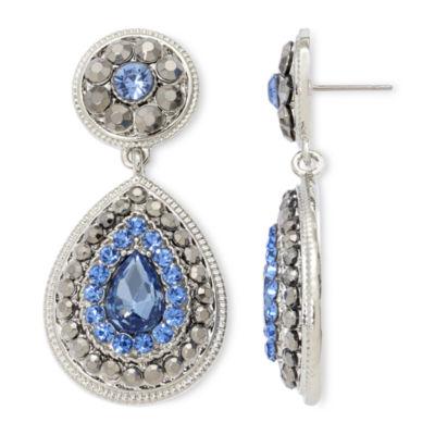 Monet® Blue Glass & Marcasite Teardrop Earrings