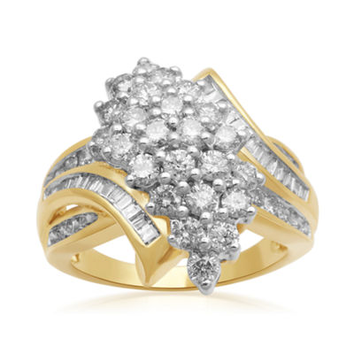 2 CT. T.W. Diamond Cluster 10K Yellow Gold Ring