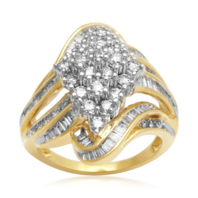 2 CT. T.W. Diamond Cluster 10K Yellow Gold Swirl Ring