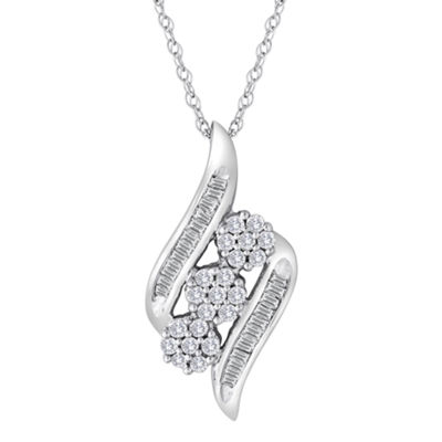 diamond blossom 1/10 CT TW Diamond Cluster 10K White Gold Swirl Pendant Necklace