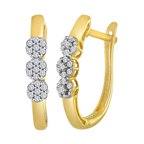 diamond blossom 1/10 CT. T.W. Diamond Cluster 10K Yellow Gold Hoop Earrings