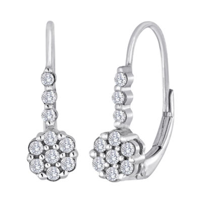 diamond blossom 1/4 CT. T.W. Diamond Cluster Sterling Silver Earrings