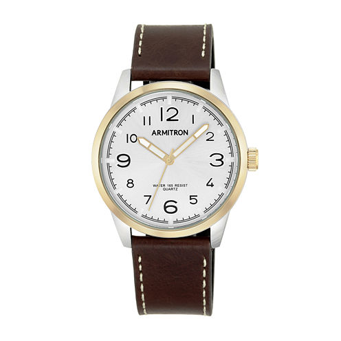 Armitron® Men's  Brown And White Leather Strap Watch 20/5126SVTTBN