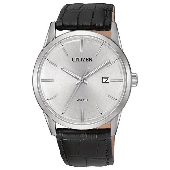 Citizen® Quartz Men'S Silver Tone And Black Stainless Steel Leather Strap Watch Bi5000-01A