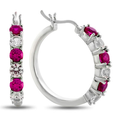 Lab-Created Ruby & White Sapphire Sterling Silver Hoop Earrings