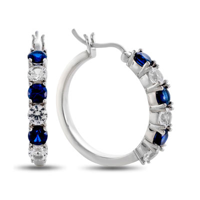 Lab Created Blue & White Sapphire Hoop Earrings In Sterling Silver