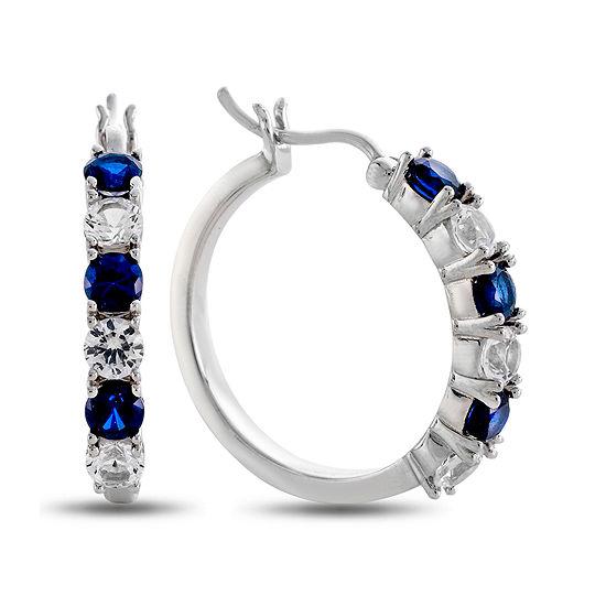 Blue White Lab Created Sapphire Sterling Silver Hoop Earrings