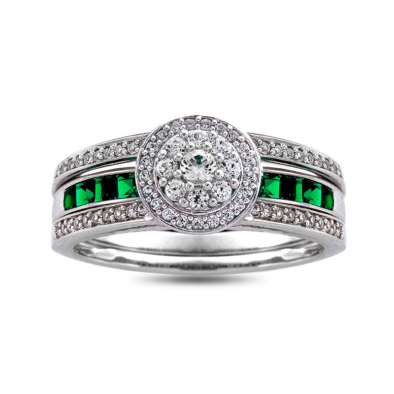Lab-Created Emerald, Ruby, Blue Sapphire, And White Sapphire Sterling Silver 4-Pc Interchangable Ring Set