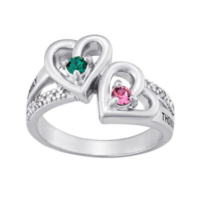 Personalized Diamond-Accent Couple's Name Birthstone Heart Ring