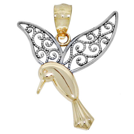 14K Two-Tone Gold Filigree Humming Bird Charm Pendant