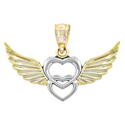 14K Two-Tone Gold Double Heart With Wings Charm Pendant