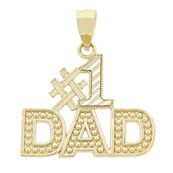 "14K Yellow Gold ""no.1 Dad"" Charm Pendant"