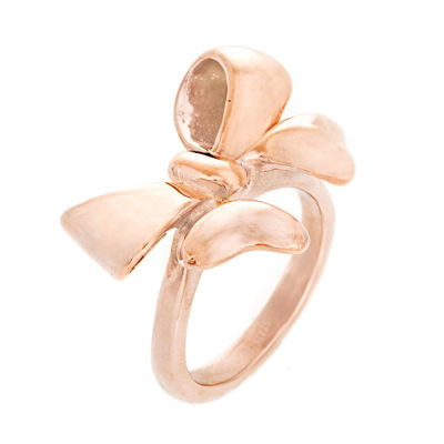 Rose IP Stainless Steel Bow Ring
