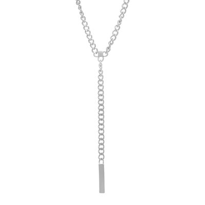 Stainless Steel Curb Y Necklace