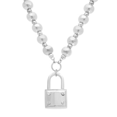 Stainless Steel Lock Bead Pendant Necklace