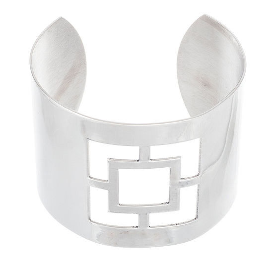 Stainless Steel Square Cut-Out Cuff Bangle