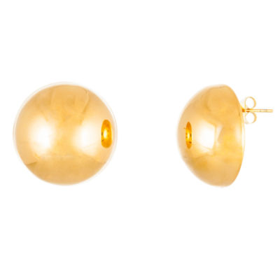 Yellow IP Stainless Steel Semi-Circle Stud Earrings