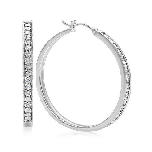 1/10 CT. T.W. White Diamond Sterling Silver Hoop Earrings