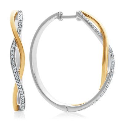 1/5 CT. T.W. Genuine White Diamond Sterling Silver Hoop Earrings