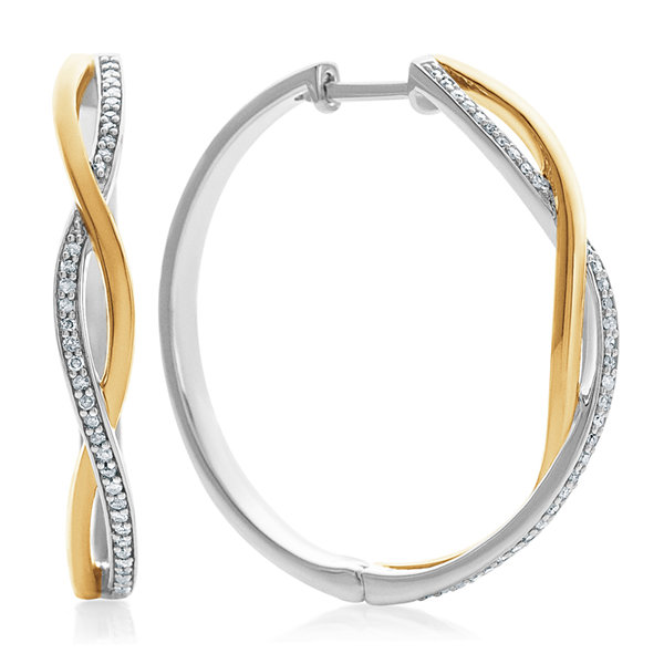 T W White Diamond Gold Over Silver Hoop Earrings