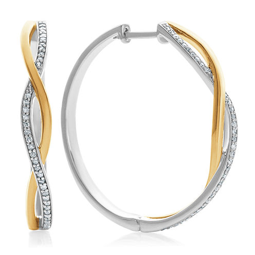 1/5 CT. T.W. White Diamond Gold Over Silver Hoop Earrings