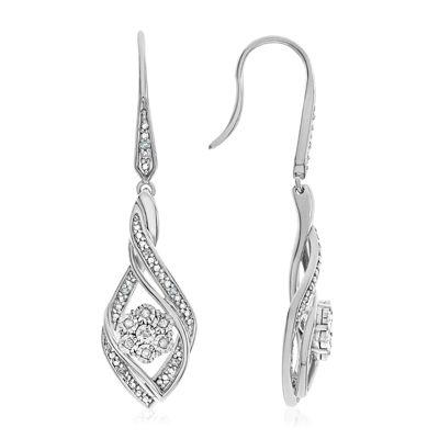 diamond blossom 1/10 CT. T.W. Diamond Sterling Silver Earrings