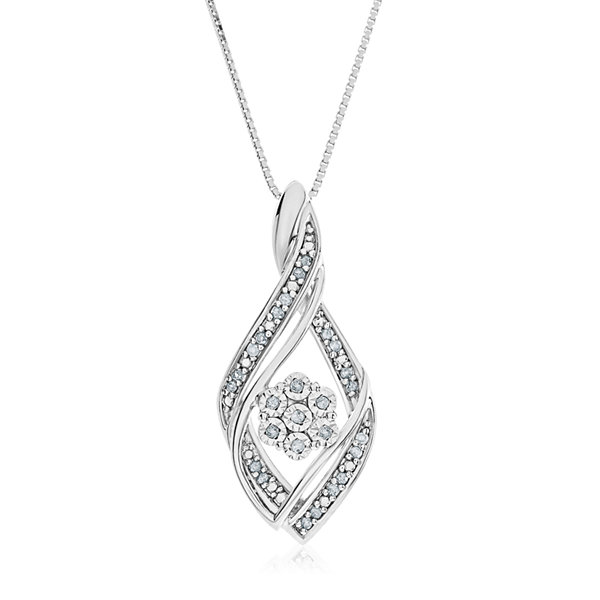 Diamond Blossom Womens 1/10 CT. T.W. White Diamond Sterling Silver Pendant Necklace