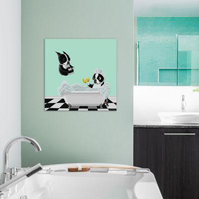 Bath Time Doggies by Brian Rubenacker Canvas Wall Art
