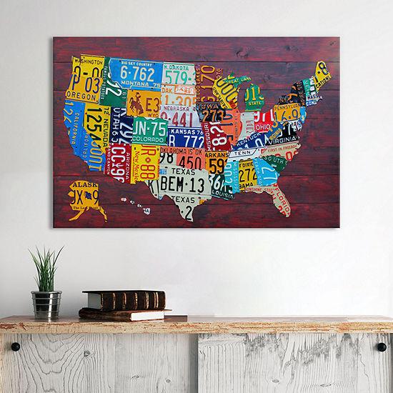 License Plate Map USA by David Bowman Canvas Wall Art