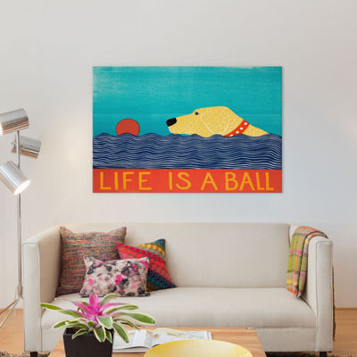 Life Is A Ball Yell by Stephen Huneck Canvas Wall Art
