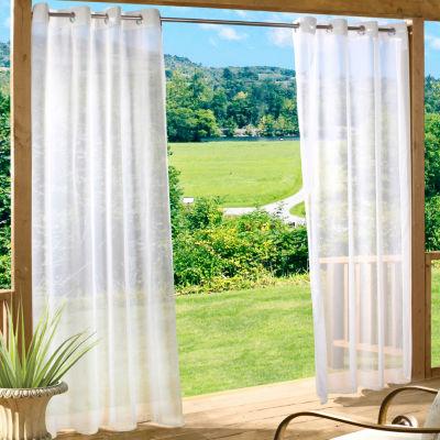 Escape Solid Indoor/Outdoor Grommet-Top Single Outdoor Curtain Panel
