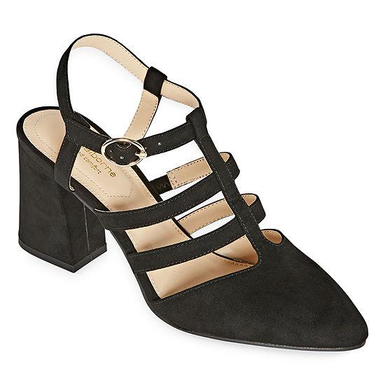 Liz Claiborne Womens Newell Buckle Pointed Toe Block Heel Pumps