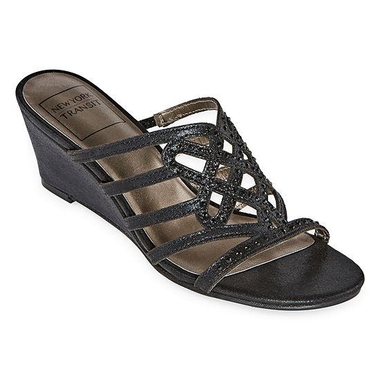 New York Transit Womens Great Cross Wedge Sandals