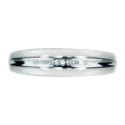 Mens Diamond Accent 10K White Gold Wedding Band