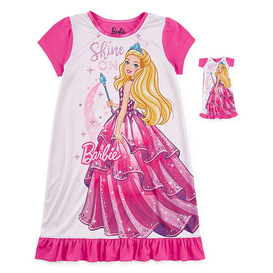 Girls Nightgown Barbie Short Sleeve Crew Neck