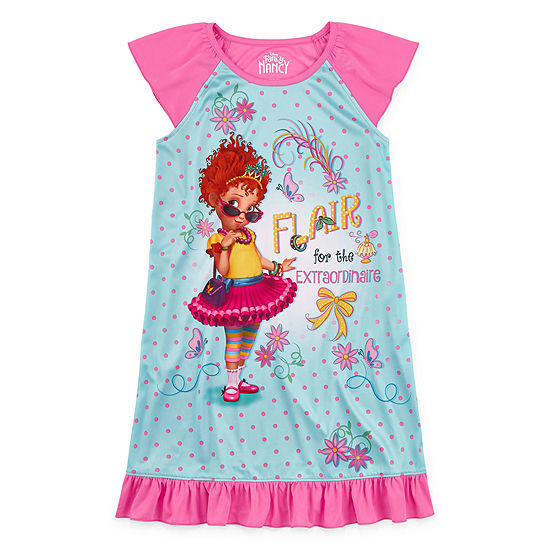 Little & Big Girls Fancy Nancy Short Sleeve Crew Neck Nightgown