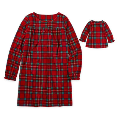 North Pole Trading Co. Fa La Llama Family Girls Plus Flannel Nightgown Long Sleeve Round Neck
