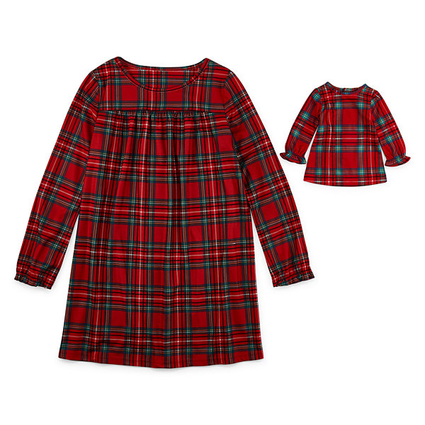 North Pole Trading Co. Fa La Llama Family Girls Flannel Nightgown Long Sleeve Round Neck