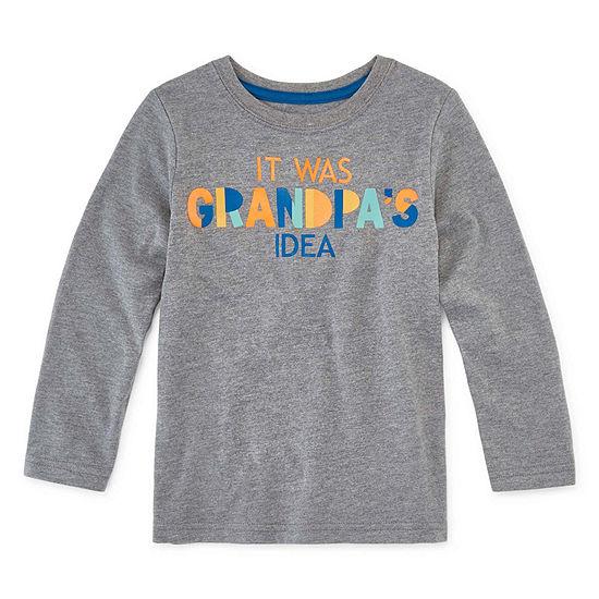Okie Dokie Crew Neck Long Sleeve Graphic T-Shirt-Toddler Boys