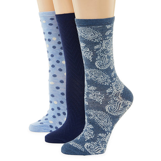 Mixit 3 Pair Crew Socks - Womens
