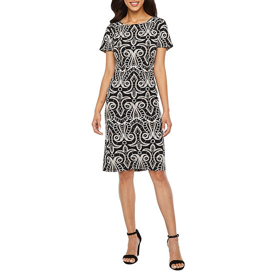 Ronni Nicole Short Sleeve Scroll Sheath Dress