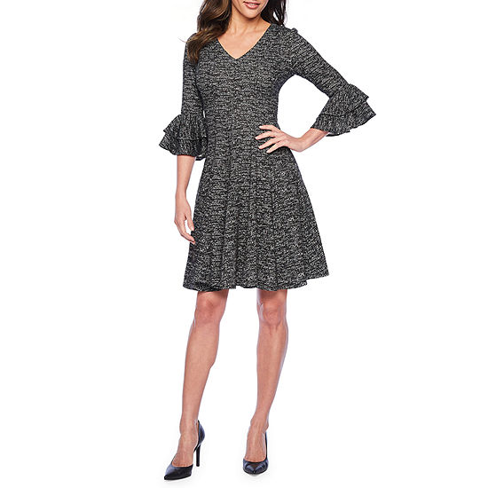 Danny & Nicole 3/4 Tiered Bell Sleeve Fit & Flare Dress