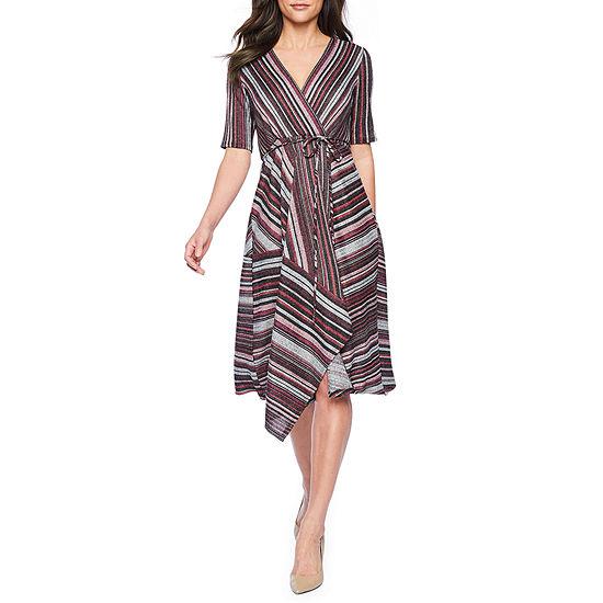 Danny & Nicole Short Sleeve Striped Midi Fit & Flare Dress