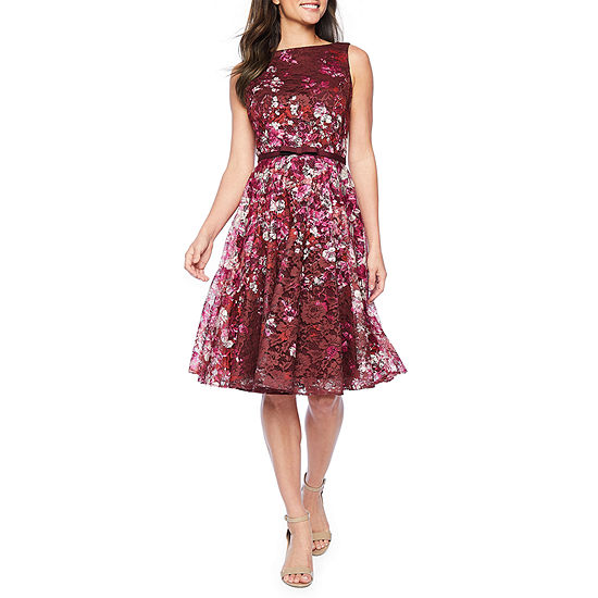 Danny & Nicole Sleeveless Floral Midi Fit & Flare Dress